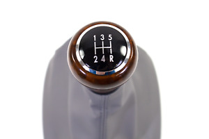 Euro B5 Passat 5 Speed Genuine Oem Vw Black Leather Votex Wood Shift Knob