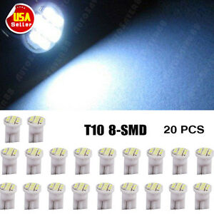 20 X Car Cool White T10 Led 8smd Side Wedge Light Bulb W5w 194 168 2825 501 192