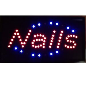 10 19 Animated Motion Led Nails Spa Sign Onoff Switch Bright Open Light Neon