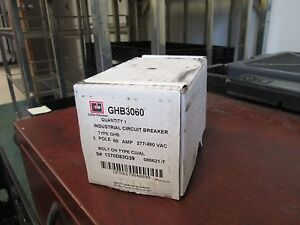 Cutler hammer Circuit Breaker Ghb3060 60a 277 480vac 3p Bolt on Type New Surplus