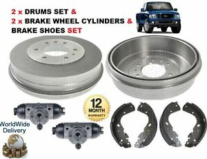For Ford Ranger 4x4 2006 12 2011 Rear 2x Brake Drums Shoes 2x Wheel Cylinder