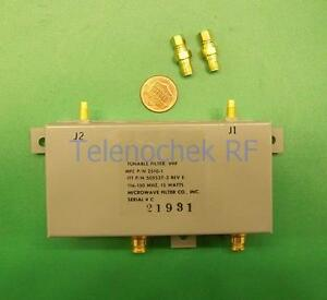 Vhf Uhf Rf Tunable Bandpass Filter Bpf 90 150 Mhz 200khz Bw Power 15watt Data