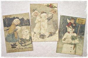 Set Of 18 Vintage Look Christmas Labels Victorian Snowmen Primitive Grungy