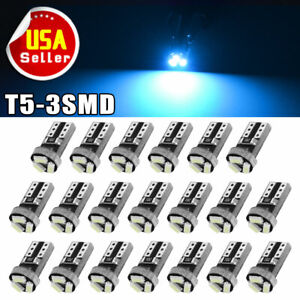 20x T5 Wedge Led Gauge Cluster Light Interior Instrument Bulbs Ice Blue 3smd 207