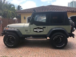 1988 1995 Jeep Wrangler Replacement Soft Top Upper Doors Tinted Windows Black