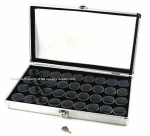 1 Locking Aluminum Display Case Box 36 Jar Black Gems Body Jewelry Gold Nuggets