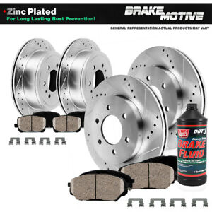 Front Rear Drilled Slotted Brake Rotors And Ceramic Pads 01 07 Sequoia 2wd 4wd