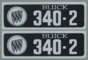 Buick 1966 1967 340 2v Valve Cover Decal Set
