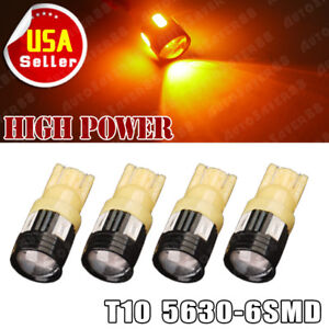 4x Amber Yellow T10 High Power 3w 5630 Led Side Marker Tail Light Interior Bulb
