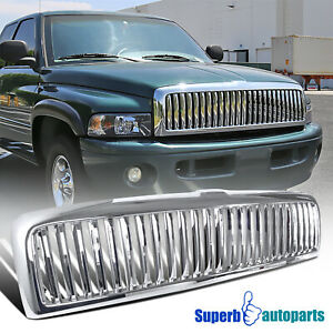 1994 2001 Dodge Ram 1500 2500 3500 Abs Vertical Front Hood Grille Chrome