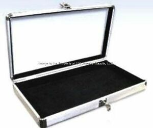 1 Wholesale Locking Aluminum Black Earring Display Organizer Storage Box Case
