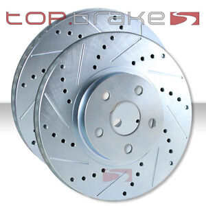 Front Topbrakes Performance Cross Drilled Slotted Brake Disc Rotors Tb31165