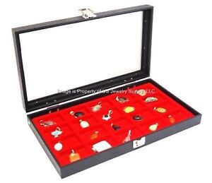 1 Glass Top Lid Red 18 Space Storage Display Box Case Jewelry Pocket Watch Coin