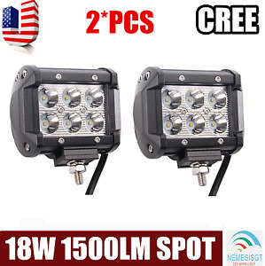 2pcs 18w Led Work Light Bar Spot Beam Off Road Driving Fog Lamp Atv Suv 4wd