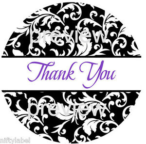 Black Swirl Design 111 Thank You Sticker Labels Laser Printed