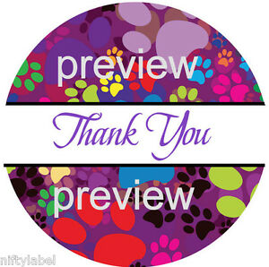 Puppy Dog Paw Print Design 112 Thank You Sticker Labels Laser Printed