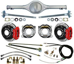 Currie 64 66 Mustang Rear End Wilwood Drilled Disc Brakes red Calipers lines