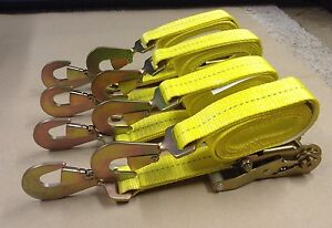 4 8ft Ratchet Tie Down Straps Extra Heavy Duty Towing Wrecker Rollback Usa
