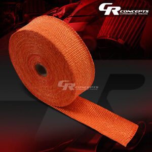 10m 393 L 2 W Header Manifold Exhaust Turbo Down Pipe Piping Orange Heat Wrap