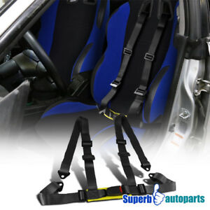 Jdm Racing Seat Belts 4 Point 4pt Safety Harness Black