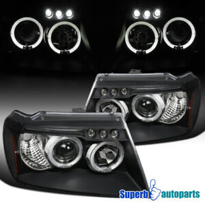 For 1999 2004 Jeep Grand Cherokee Led Halo Projector Headlights Black