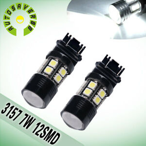 2pcs White 3157 3156 12smd 7w High Power Led Bulbs Reverse Back Up Tail Light