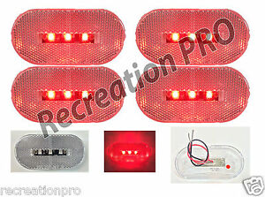 4 X 2 Oblong Clear Red Led Clearance Marker Lights Dot Semi Truck 4 pack