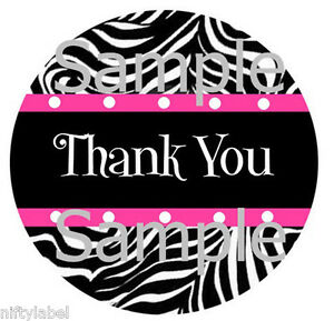 Black Zebra With Pink Trim Design 2 Thank You Sticker Labels Optional Sizes