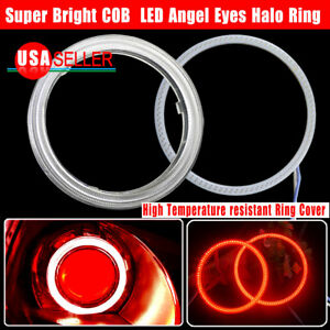 2x100mm Red Highpower Led Cob Angel Eyes Halo Ring For Headlight