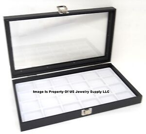 1 Glass Top Lid White 24 Space Jewelry Display Box Case Pendant Pin Brooch