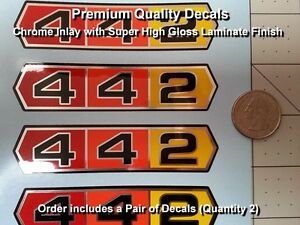Olds 442 Decal Kit 2pcs Oldsmobile Vintage Chrome 4 Inch Laminated 0128