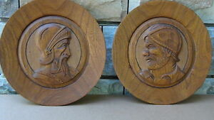 Pair Antique German Wood Carved Round Plaques With Soldiers Portraits