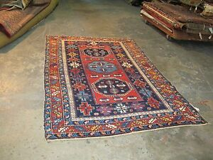 Vintage Shirvan Russian Hand Knotted Wool Rug 4 0 X 6 2 Wool Wool Foundation