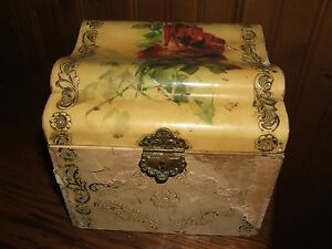 Antique Decorative Shabby Chic Wood Rounded Top Box