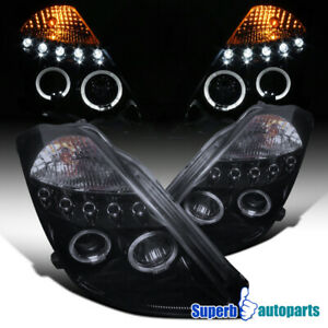For 2003 2005 350z Led Halo Smoke Projector Headlights Lamps Glossy