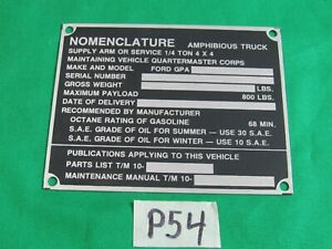 Data Plate Small Nomenclature Fits Wwii Ford Gpa Amphibious Jeep P54