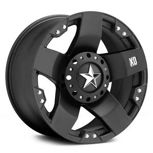4 New Xd Rockstar 17x9 Matte Black Wheels Chevy Dodge Ford