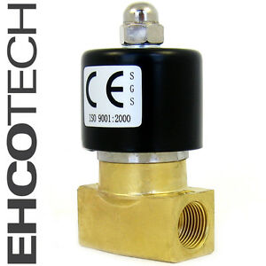 3 8 Electric Solenoid Valve Brass 12 volt Dc Fkm viton Air Water Gas Fuel B20v