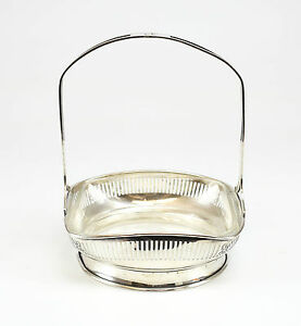 Meriden Britannia Co Sterling Silver Line Glass Footed Basket Makers Mark