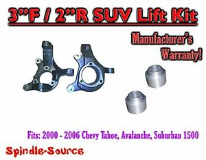 2000 2006 Chevrolet Suburban Tahoe Avalanche 1500 2wd 3 2 Lift Kit Spindle