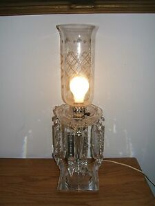 Vintage Crystal Electrified Lusters Lamp W 7 Long Rossettes Prisms