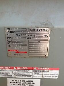 Square D 25 Kva 1 Phase Dry Type Transformer 120 240 600 Volt