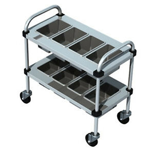 Piper Products Stainless Steel Silverware Cart W 2 Shelves 30 lx16 wx31 h 717