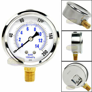 Quality Liquid Filled 2 5 200 Psi Air Pressure Gauge Lower Mnt Side Mount