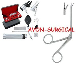 New Otoscope Ophthalmoscope Set Ent Surgical Instrument 2 Bulb W alligator Fcp