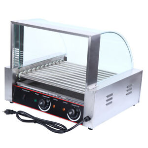 2200w Stainless 30 Hot Dog Commercial 11 Roller Grill Cooker Machine W Cover