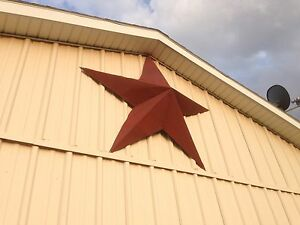 24 Rusted Metal Star Barn Old Roof Rusty Sign Red Unique Primitive Handmade