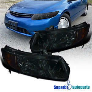 For 2006 2011 Honda Civic 2dr Coupe Replacement Smoke Headlights Head Lamps