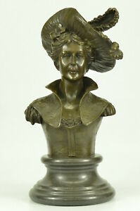 Original Large Female Bust Bronze Sculpture Marble Base Statue Home Decor Gift