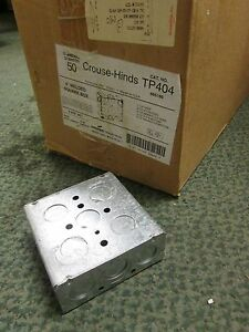 Crouse Hinds Outlet Box Tp404 4 Square 1 1 2 Deep 1 2 Kos Box Of 50